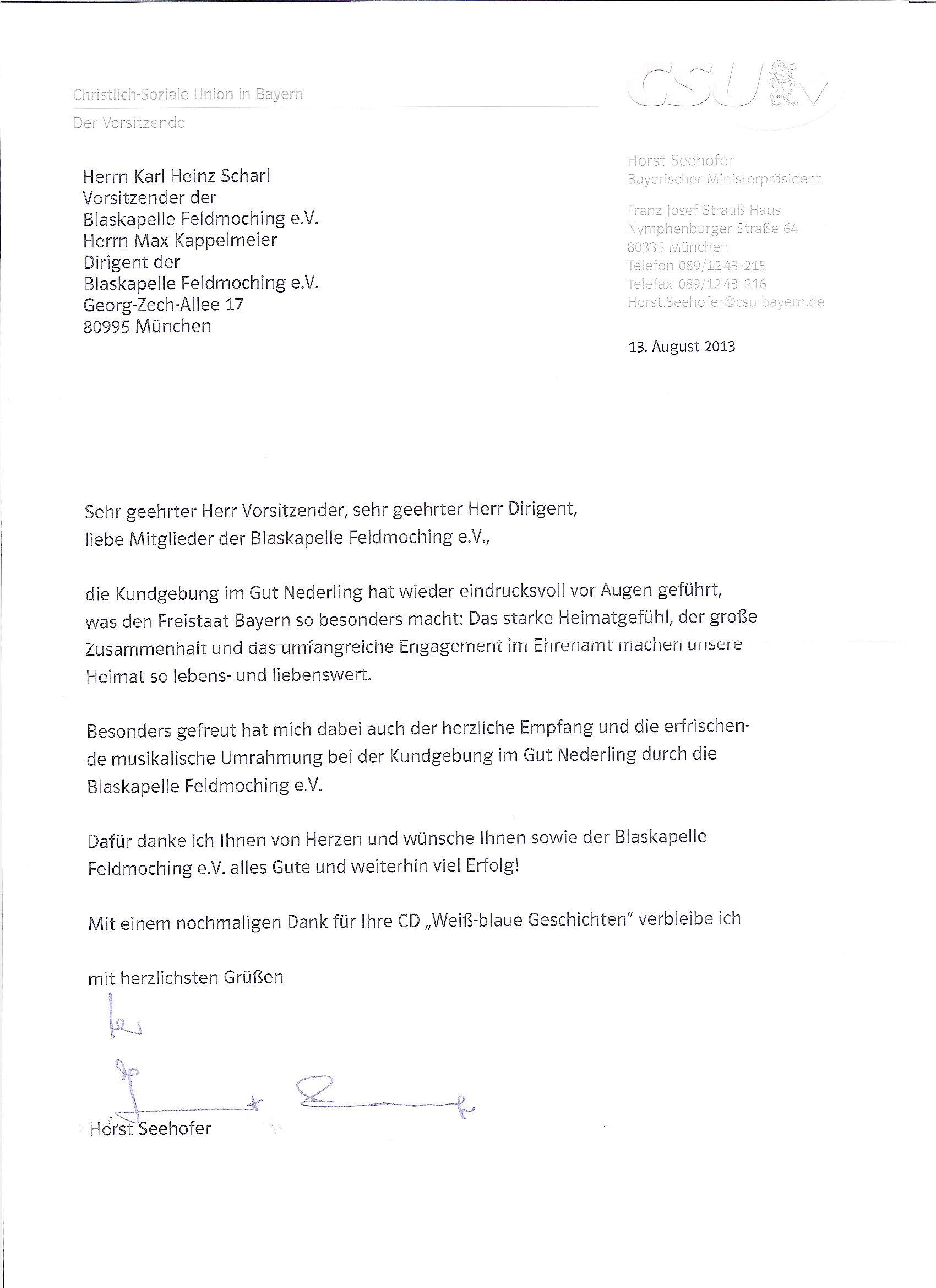 Dankesschreiben von Ministerpräsident Horst Seehofer